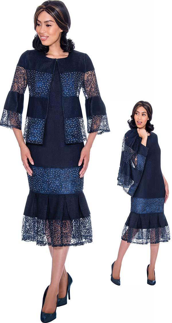 Devine Sport DS62052-Navy - Lace Inset Design Pleated Denim Skirt Suit
