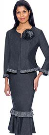Devine Sport DS62073 - Soft Stretch Denim Flounce Skirt Suit With Ruffle Trims