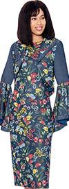 Devine Sport DS62082 - Floral Pattern Soft Stretch Denim Dress With Bell Sleeve Bolero Jacket
