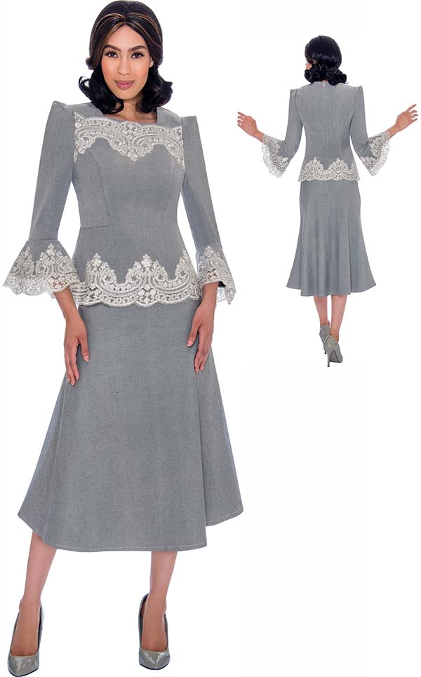 Devine Sport DS62132 - Flared Denim Skirt Suit With Bell Sleeves And Lace Accents
