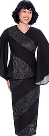 Devine Sport DS62152 - Embellished Denim Skirt Suit With Angel Style Sleeves