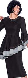 Devine Sport DS62162 - Denim Skirt Suit With Layered Asymmetric Peplum Top