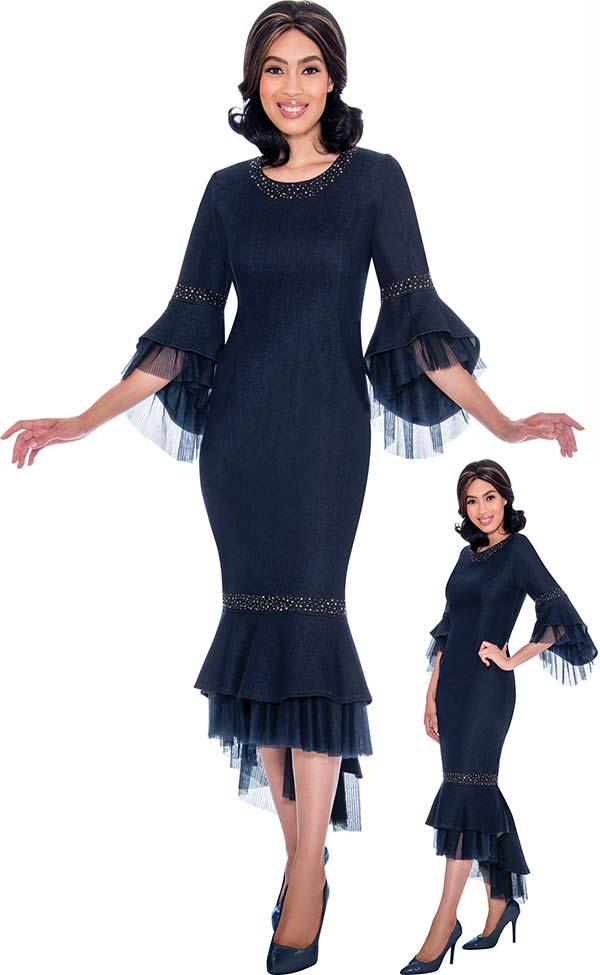 Devine Sport DS62171 Organza Layered Flounce Design Denim Dress With Bell Sleeves