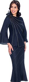 Devine Sport DS62182 - Embellished Asymmetric Design Denim Flared Skirt Suit With Shoulder Bow Adornment
