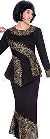 Devine Sport DS62222 - Paisley Pattern Accented Flounce Hem Denim Skirt Suit With Asymmetric Cut Jacket