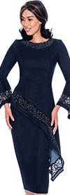 Devine Sport DS62242 - Lace Inset Design Denim Skirt Suit With Bell Sleeves & Offset High Low Top