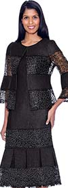 Devine Sport DS62052-Black - Lace Inset Design Pleated Denim Skirt Suit
