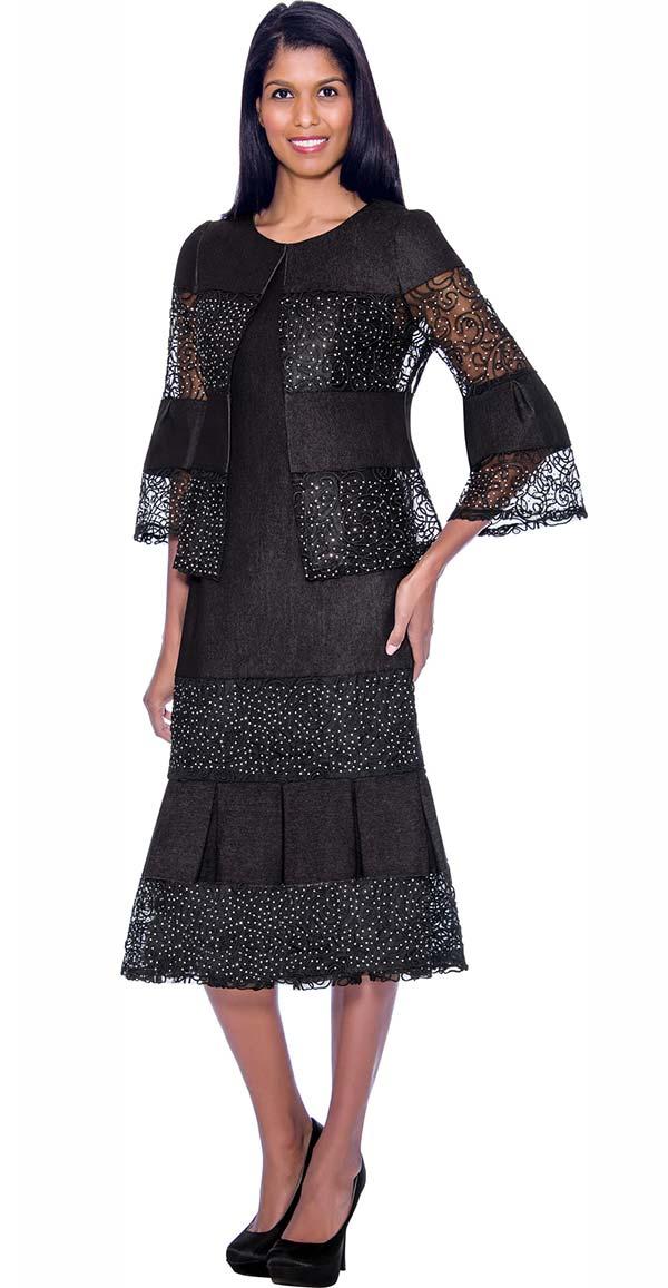 Devine Sport DS62052-Black - Lace Inset Design Pleated Denim Skirt Suit
