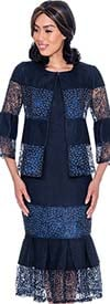 Devine Sport DS62052-Navy - Lace Inset Design Pleated Denim Skirt Suit