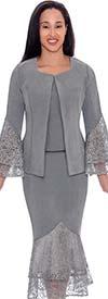Devine Sport DS62143 - Lace Layered Flounce Design Denim Skirt Suit