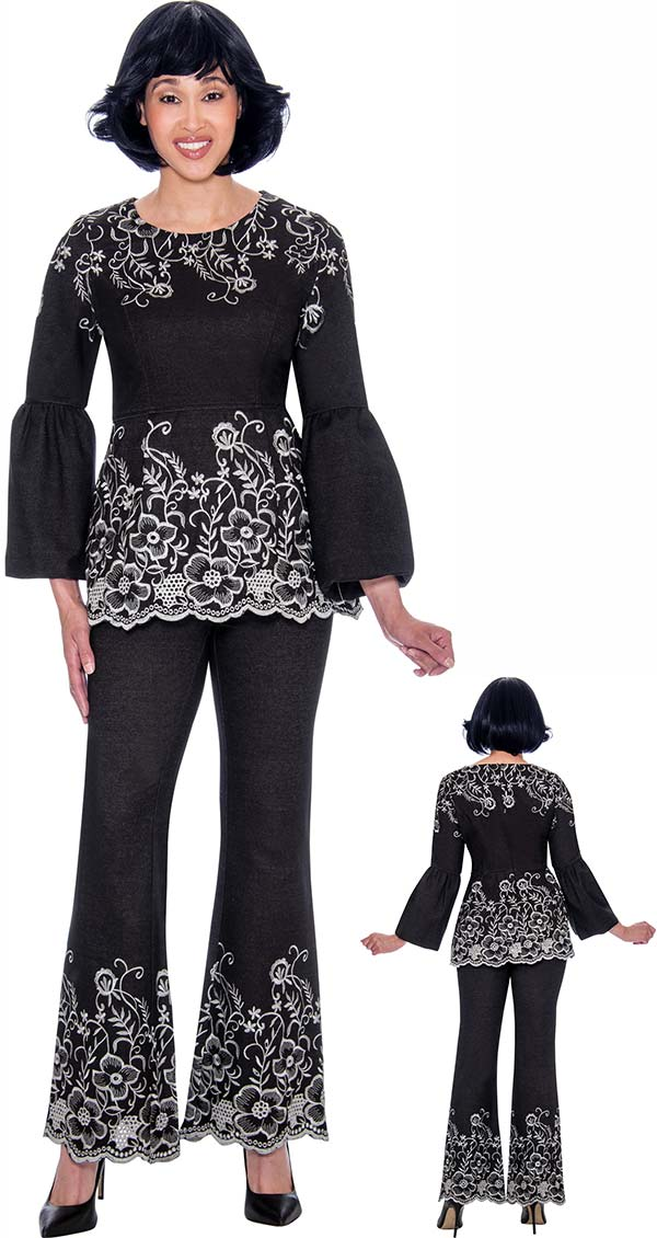 Devine Sport DS62192 - Embroidery Accented Flounce Sleeve Denim Pant Suit