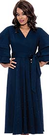 Devine Sport DS62411-Navy - Pearl Trimmed Denim Dress With Sash And Multi Tier Sleeves
