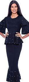 Devine Sport DS62422 - Pearl Trimmed Womens Denim Flounce Hem Skirt Suit With Tier Sleeve Peplum Jacket