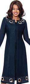 Devine Sport DS62492 - Womens Sleeveless Denim Dress With Duster Jacket Featuring Large Grommets