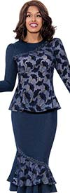 Devine Sport DS62562 - Womens Soft Stretch Denim Flounce Skirt Suit In Floral Print Design