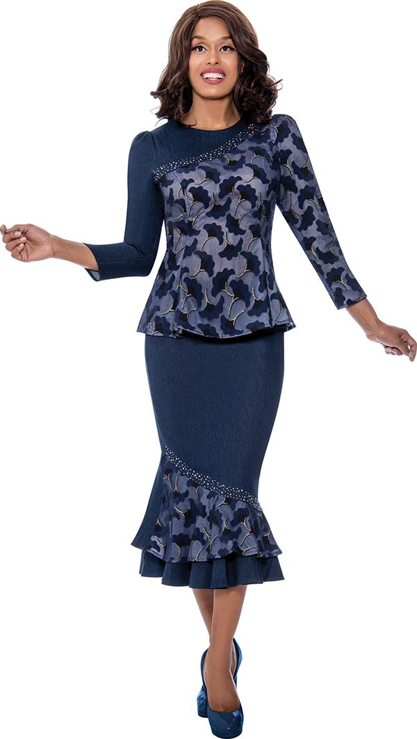 Devine Sport DS62562 - Womens Soft Stretch Denim Flounce Skirt Suit In Floral Print Design