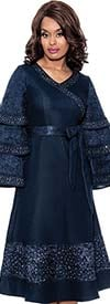Devine Sport DS62571 - Embellished Denim Dress With Sash And Multi Tier Sleeves