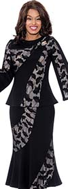 Devine Sport DS62582 - Womens Floral Print Flared Denim Skirt Suit With Bell Sleeve Jacket