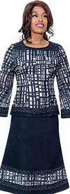 Devine Sport DS62592 - Ladies Abstract Print Denim Skirt Suit With Bell Sleeve Jacket