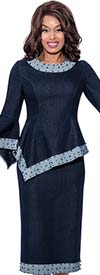 Devine Sport DS62652 - Denim Asymmetrical Style Jacket And Skirt Set Trimmed With Embellishments