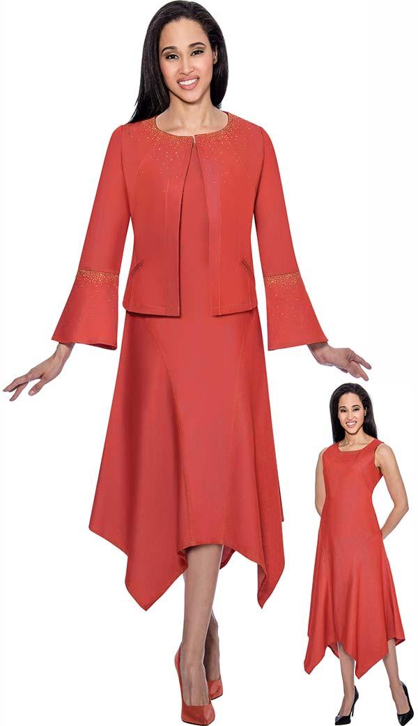 DS51672 - Soft Stretch Denim Dress Suit With Hankerchief Style Design