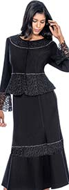 Devine Sport NY DS51682 - Soft Stretch Denim Skirt Suit With Peplum Jacket & Lace Accents