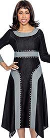 Devine Sport NY DS51691 Handkerchief Hem Denim Dress With Stud Embellishments