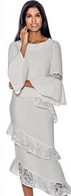 Devine Sport NY DS61652-White - Soft Stretch Denim Suit With Lace Encircled Skirt & Bell Cuffs