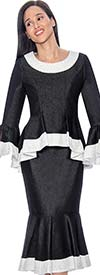 Devine Sport NY DS61752-Black - Soft Stretch Denim Flounce Hem Skirt Suit With Peplum Jacket & Embellished Trim