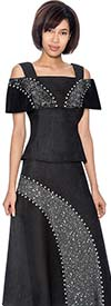 Devine Sport NY DS61792 Denim Skirt Suit With Off The Shoulder Portrait Collar