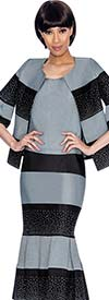 Devine Sport NY DS61853-Silver/Black - Pleated Founce Hem Denim Skirt Suit With Striped Design