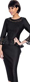 Devine Sport DS61942-Black - Denim Skirt Suit With Lace Accented Peplum Jacket