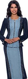 Devine Sport DS62612 -  Embellished Two-Tone Denim Skirt Set With Front Zip Jacket