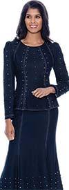 Devine Sport DS62762-Navy - Bead Embellished Soft Denim Skirt Suit With Flared Hemline