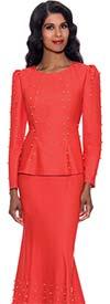 Devine Sport DS62762-Orange- Bead Embellished Soft Denim Skirt Suit With Flared Hemline