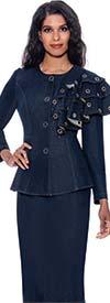 Devine Sport DS62822 -  Womens Denim Skirt Set With Grommet Detailed Ruffle Shoulder Feature