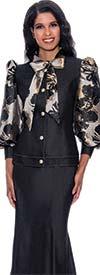 Devine Sport DS62852 - Womens Denim Skirt Suit With Print Design Balloon Sleeve Bow Neckline Jacket