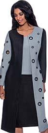 Devine Sport DS62883 - Soft Denim Two-Tone Skirt Suit Featuring Long Jacket With Grommet Details