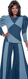 Devine Sport DS62892 - Womens Two-Tone Denim Pant Suit With Leg-of-Mutton Style Sleeves