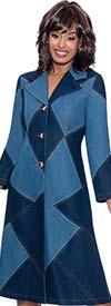 Devine Sport DS62901 -  Two-Tone Soft Denim Jacket Dress With Notch Lapels