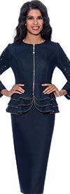 Devine Sport DS63002 -  Soft Denim Skirt Set With Bead Embellished Front Zip Tiered Design Jacket