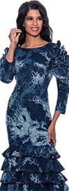 Devine Sport DS63011 -  Abstract Print Tiered Flounce Hem Denim Dress With Ruffle Detail