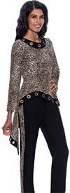 Devine Sport DS63022 - Womens Denim Pant Suit With Animal Print Grommet Detail High-Low Jacket