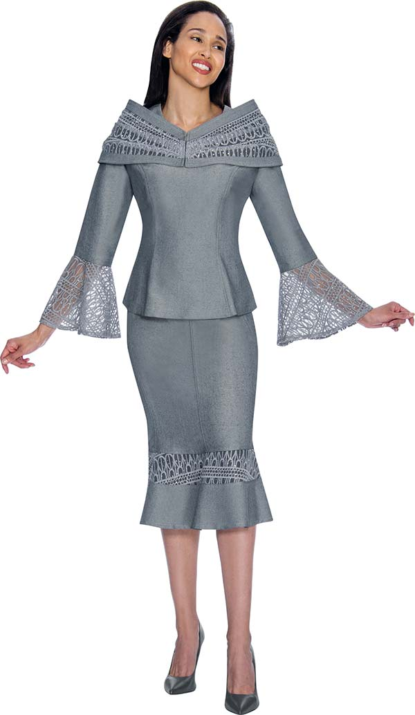 Devine Sport NY DS61672-Silver - Lace Bell Cuff Denim Skirt Suit With Portrait Collar