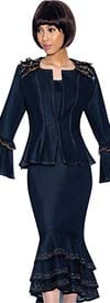 Devine Sport NY DS61833-Navy - Embellished Bell Cuff Denim Layered Flounce Skirt Suit With Ruffle Accents