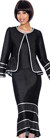 Devine Sport NY DS61843 - Flared Denim Skirt Suit With Embellished Accents