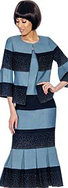 Devine Sport NY DS61853-Navy/Blue - Pleated Founce Hem Denim Skirt Suit With Striped Design