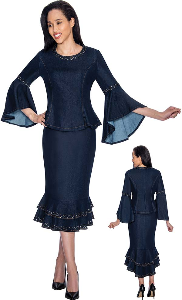 Devine Sport NY DS61862 - Flared Cuff Flounce Hem Denim Skirt Suit With Embellished Accents