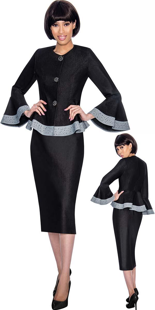 Devine Sport NY DS61872 - Denim Skirt Suit With Flared Cuff Peplum Jacket