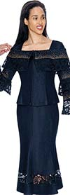 Devine Sport NY DS61902 - Embellished Denim Skirt Suit With Lace Accents